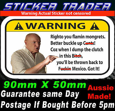 ALF STEWART FUNNY WARNING Mongrets STICKER JDM HOON Drift Turbo Car DVD Bomb