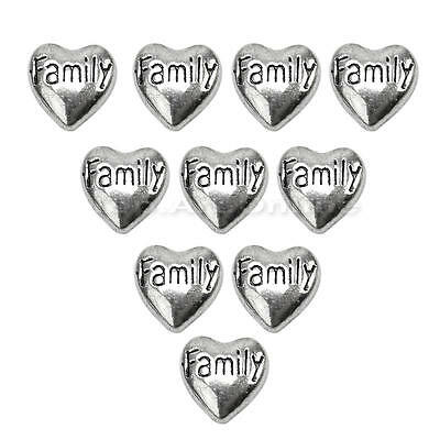 10x Heart Family Floating Charms for Living Memory Glass Locket Necklace Pendant