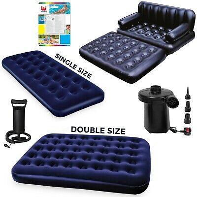 Single Double Inflatable Pump Flocked Air Bed Camping Airbed Mattress Repair Kit