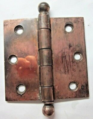 "1 Antique McK McKinney Square 3-1/2"" Copper Plated Mortise Door Hinge Ball Tips"