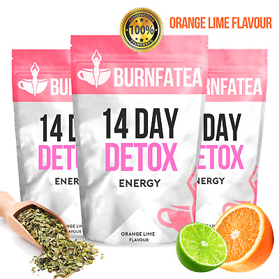 Burnfatea 14 Day Detox Tea For Energy, Pre Workout, Weight Loss - Orange Lime