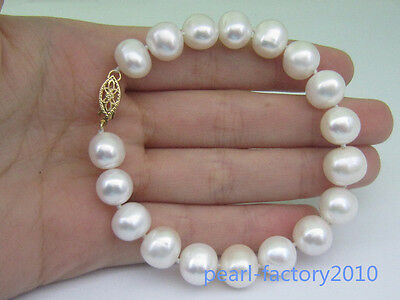 Natural 10-11Mm  South Sea Genuine White Pearl Bracelet 14K Gold Clasp