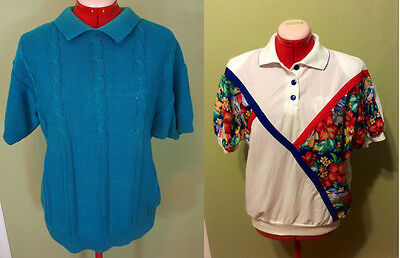 True Vintage Lot of 2 1980s Tops, M, sweater shirt blouse blue batwing
