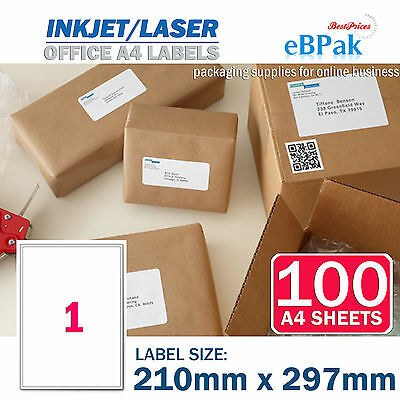 100 x 1 up 210 x 297mm Peel Paste Label A4 Office Mailing Address label - 1UP