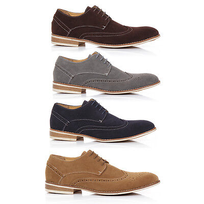 Mens New Faux Suede Lace Up Casual Formal Office Work Lace Up Brogues Shoes Size
