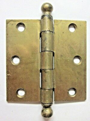 "1 Antique McKinney Square 3"" Brass Plated Mortise Door Hinge Ball Tip End Finial"