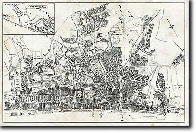Map Of Brighton, Uk From 1946 - Historic Old Photo Print Poster United Kingdom