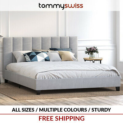 TOMMY SWISS: DELUXE King Queen Double Size PU Leather Bed Frame Black Brown Base