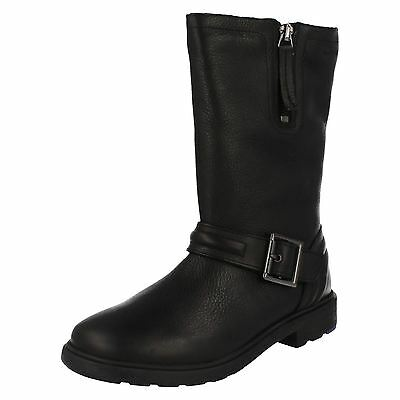 Girls Clarks Ines Spot Inf & Jnr Black Leather Long Zip Up Boots F & G Fittings