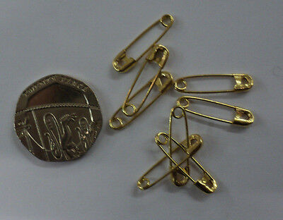 small safety pins 20mm colours gold / black or silver