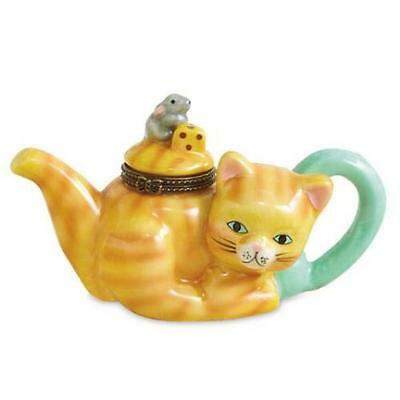 Cat And Mouse Ceramic Teapot Trinket Box New