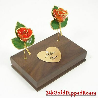 "Two 3"" 24k Gold Dipped Peach Roses & Stand (Free Anniversary Gift Box)"