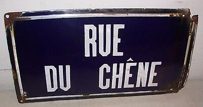 Vintage French Porcelain Street Sign Rue Du Chene Oak Street Blue & White France