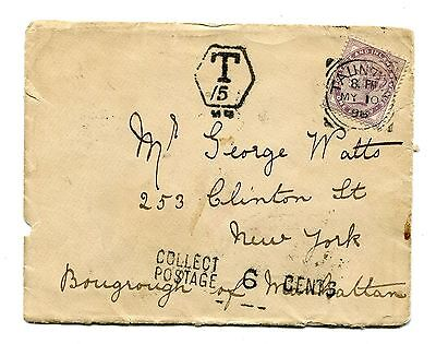 NJ1898 British Tant Cover Collect Postage Manchester England New York Scott no.