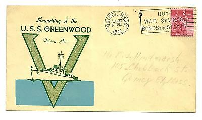 1943 Cover launching of the u.s.s greenwood quincy massachusettes navy warship