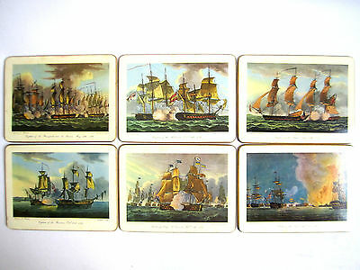Six 6 Vintage English Navel Battles Placemats From Etchings Brooks Brothers