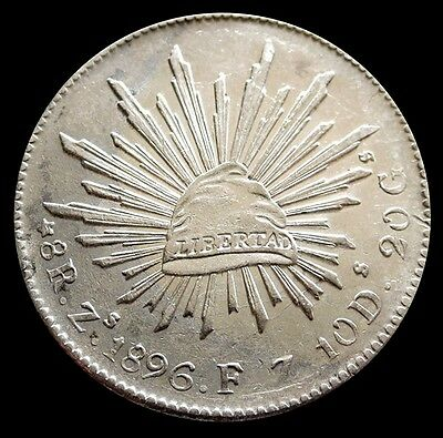 1896 Zs Fz Silver Mexico 8 Reales  Cap & Rays Unc. Condition - Zacatecas Mint