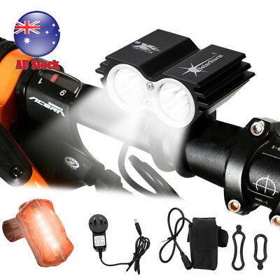 SolarStorm 8000Lm 2x XM-L T6 LED Fornt Bicycle Bike Light +Rear Light+2*Battery