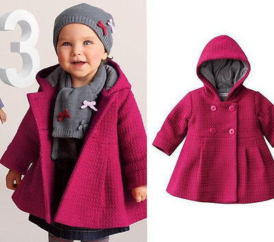 Baby Toddler Girl Warm Fleece Winter Pea Coat Snow Jacket Suit Clothes Red Pink
