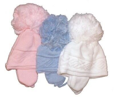 Baby Boy Girl Large Pom Pom Knitted Winter Hat 0-3 3-6 Month *1 Supplied*