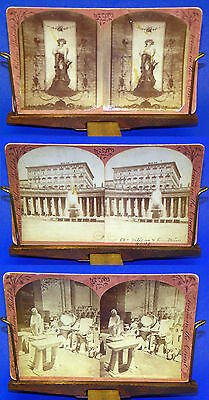 3-Antique 1882 Italy Marble Quarry Vatican Rome Italy 3D Stereo View Card Wilson