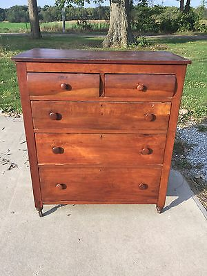 Antique Vintage Cherry Dresser With Secret Latch Lock For Top Drawers