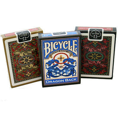 Dragon Back Bicycle Playing Cards - Red, Blue & Gold Deck - Rare Playing Cards