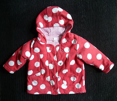 Baby clothes GIRL 6-9m NEXT pink coat/jacket zip hood lining 2nd item post-free!