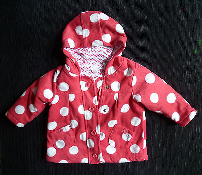 Baby clothes GIRL 6-9m NEXT pink spot fleece coat/jacket zip hood cotton lining
