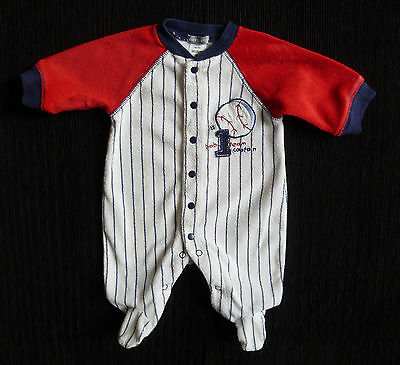 Baby clothes UNISEX BOY GIRL 0-1m red/navy towelling babygrow 2nd item post-free