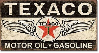 "16"" X 8 1/2"" TIN SIGN TEXACO WINGED MOTOR OIL & GASOLINE METAL SIGN NEW"
