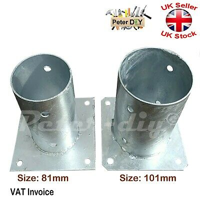 "Heavy Duty Galvanised Bolt Down Circular Post Fence Foot 81mm-3.2"" or 101mm-4"""