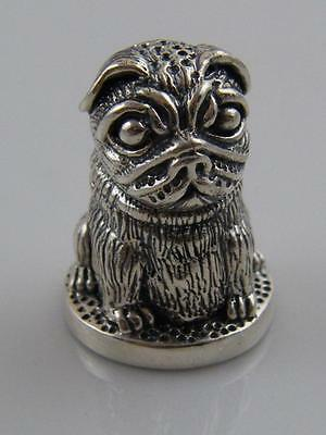 Embossed Sterling Silver Pug Dog Thimble Case