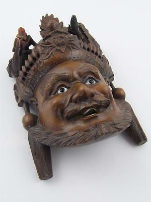 Solid Carved Wood Oriental Mask Wall Plaque