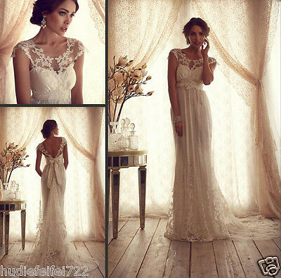 Lace Wedding Dresses Sheer Top A-line Court Train Empire Cap Sleeve Champag