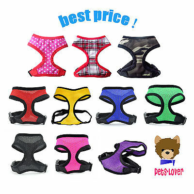 Soft Mesh Fabric Dog Puppy Pet Adjustable Harness Breathable with Clip