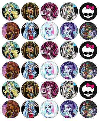30x Monster High Cupcake Toppers Edible Wafer Paper Fairy Cake Toppers