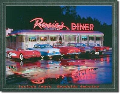 "16"" X 12 1/2"" TIN SIGN LEWIS ROSIE'S DINER METAL SIGN NEW"