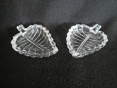 Vintage Mid Century Leaf Pressed Glass Salt Pepper Pair Cellar Dishes Italy