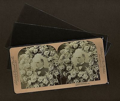 100 Stereoview Photo Sleeves Pack/Lot Clear Poly Archival Safe