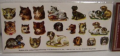 Cat & Dog Seals 3 Sheets Embossed Stickers Pkg 12 Packs NOS B. Shackman #2