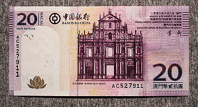Macau 20 Patacas 2008 Bank of China P-109 Au-Unc.