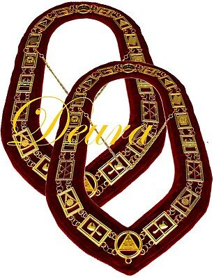 Lot of 2 Royal Arch Chain Collar Regalia Red Velvet Masonic Jewel York Rite