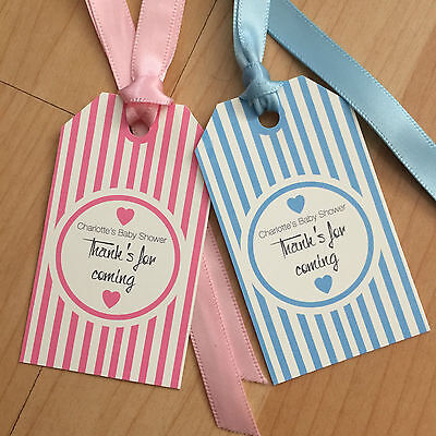 24 Vintage/retro Personalised Baby Shower tags Stripped