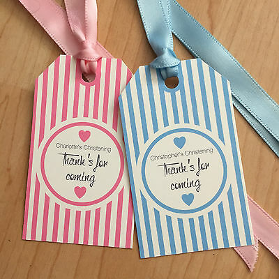 24 Vintage/retro Personalised Baby Christening tags Stripped