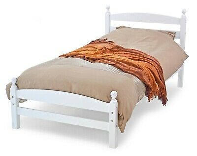 Single 90Cm 3'0 Classic Hardwood Bed Frame White Or Pine Finish Free Delivery