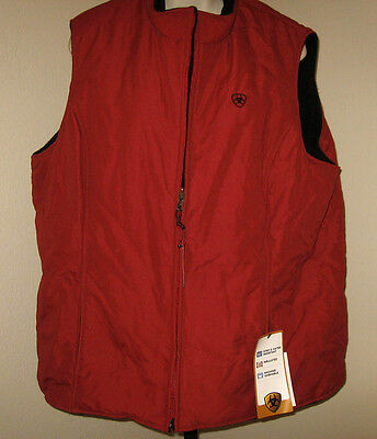 Ariat Vest Reversible Large NEW Barn Red and Black Fleece Rodeo Jacket NWT