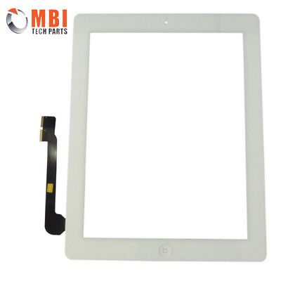 For iPad 3 Touch Screen Digitizer Glass with Home Button and Adhesive White