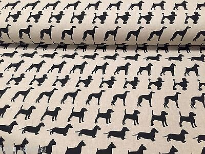 BLACK DOGS Curtain Upholstery Cotton Fabric Dog Print Material 55'' wide canvas