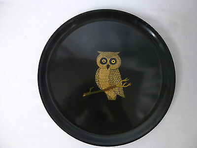 Vintage,Small,Circular COUROC tray, Owl on Branch